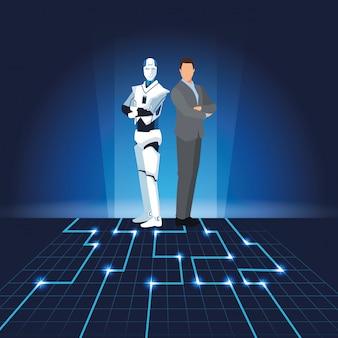Robot humanoïde et homme d'affaires