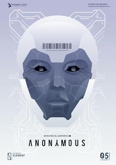 Robot avec intelligence artificielle fonctionnant avec une interface virtuelle. big data. notion d'ia. visage de robot. cyber esprit. concept d'arrière-plan technologique.