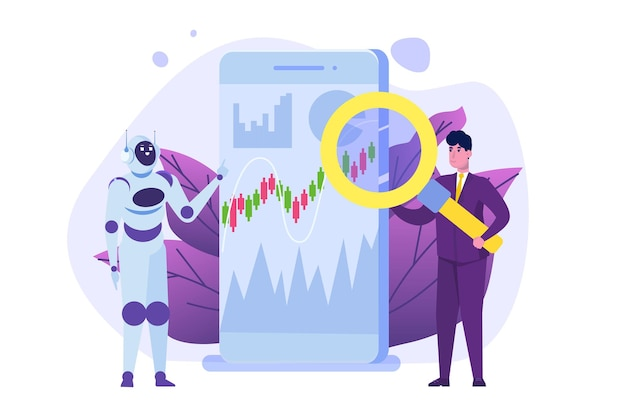 Robot investisseur robo-advisor intelligence artificielle et homme d'affaires