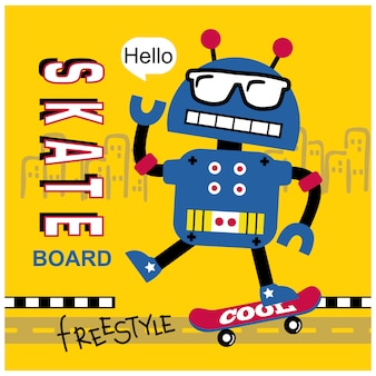 Robot jouant au dessin animé drôle de skateboard, illustration vectorielle
