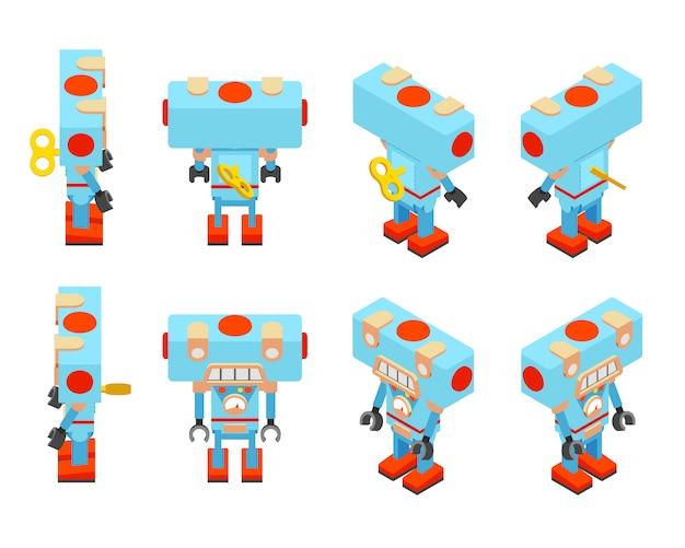 Robot jouet bleu isométrique