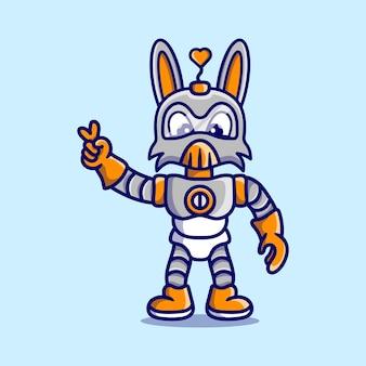 Robot lapin mignon avec signe de main amour paix