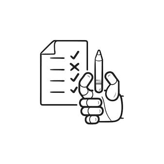 Robot avec liste de contrôle et icône de doodle contour dessiné à la main au crayon. intelligence artificielle, concept de bot de marquage