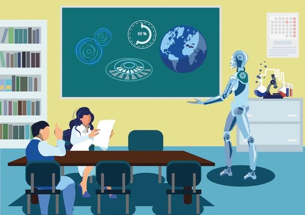 Robot, livrer, parole, illustration