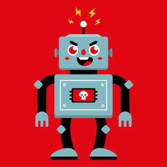 Un robot maléfique qui s'est cassé. mauvais comportement. illustration vectorielle de caractère plat.
