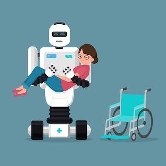 Robot médical s'occupant du patient