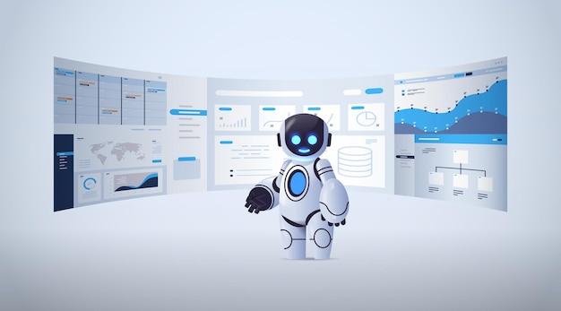 Robot mignon analysant les données financières des statistiques sur la technologie de l'intelligence artificielle des cartes virtuelles