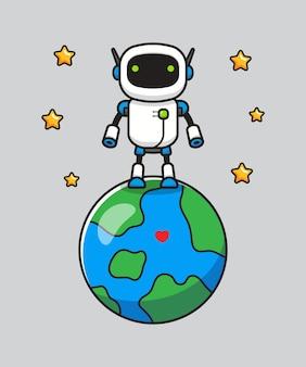 Robot mignon debout sur la planète terre