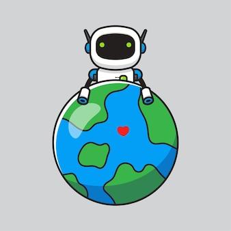 Robot mignon étreignant la planète terre