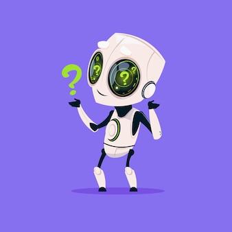 Robot mignon avec icône isolé point d'interrogation sur intelligence artificielle technologie moderne fond bleu