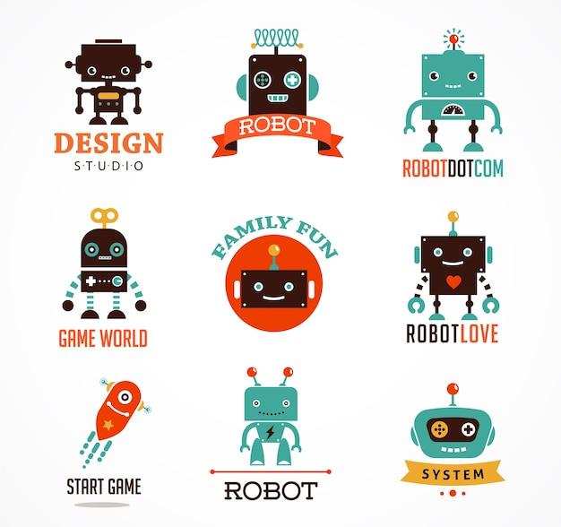 Robot mignon icônes et personnages