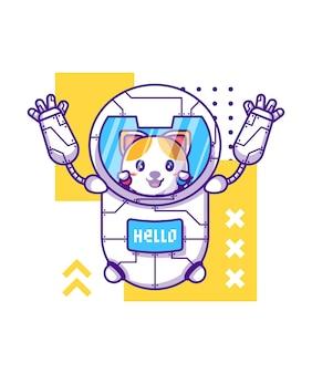 Robot mignon avec illustration de personnage de dessin animé de chat
