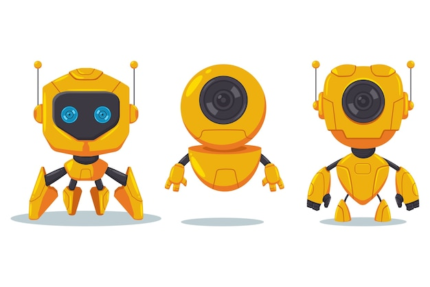 Robot mignon et jeu de caractères de dessin animé plat vecteur cyborg isolé sur blanc