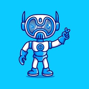 Robot mignon avec la main de signe de paix