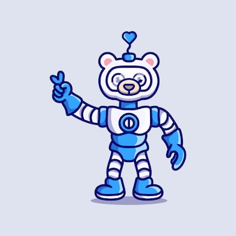 Robot mignon d'ours polaire avec le signe de main de paix d'amour
