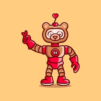 Robot mignon d'ours avec le signe de main de paix d'amour