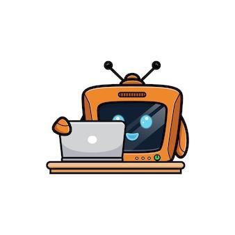 Robot mignon ouvrir l'ordinateur, version de personnage de télévision
