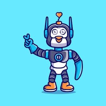 Robot mignon de pingouin avec le signe de main de paix d'amour
