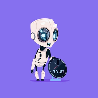 Robot mignon tenir icône de rappel d'horloge isolé sur fond bleu technologie intelligence artificielle moderne