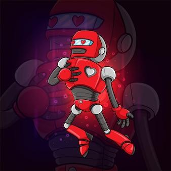 Le robot mignon tombe amoureux de la création de logo esport d'illustration