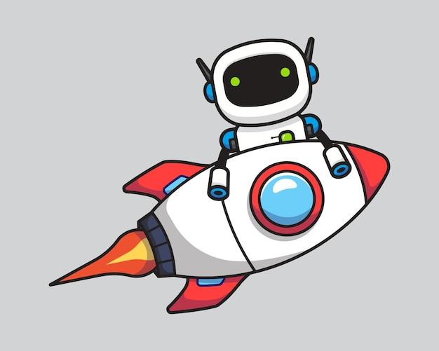Robot mignon volant avec fusée