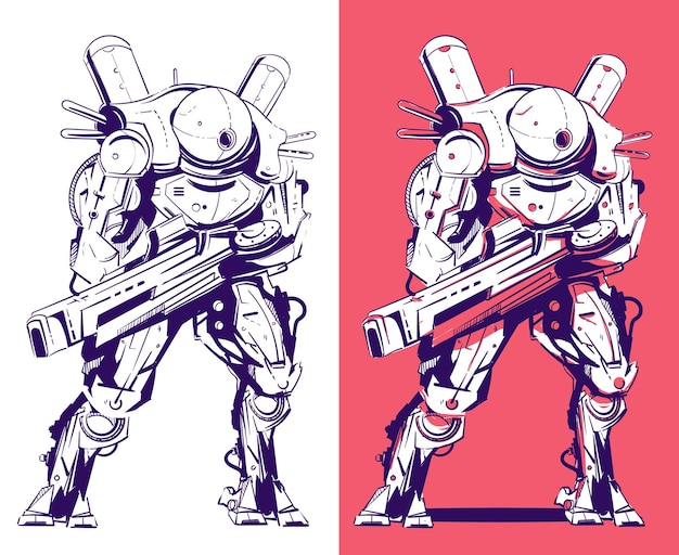 Robot militaire avec des armes dans le style de la science-fiction, cyberpunk