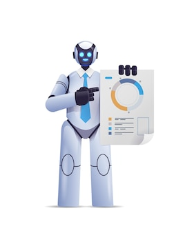 Robot moderne analysant le diagramme des statistiques des données financières analysant la technologie de l'intelligence artificielle