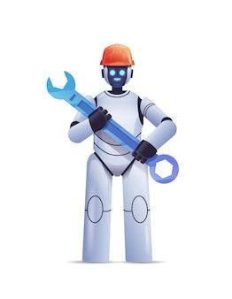Robot moderne en casque tenant un service de réparation de clé intelligence artificielle