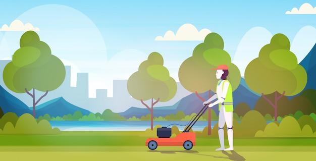 Robot moderne couper l'herbe avec une tondeuse à gazon robot jardinier