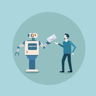 Robot moderne donnant une enveloppe de courrier à l'icône de l'homme, mécanisme d'intelligence artificielle futuriste, technologie de maintenance