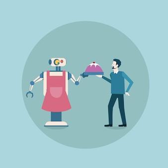 Robot moderne donnant un plat avec l'icône de la nourriture pour l'homme, mécanisme d'intelligence artificielle futuriste, technologie de ménage
