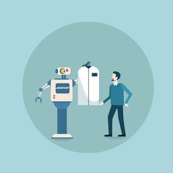 Robot moderne donnant des vêtements à l'homme mécanisme d'intelligence artificielle futuriste technologie de ménage