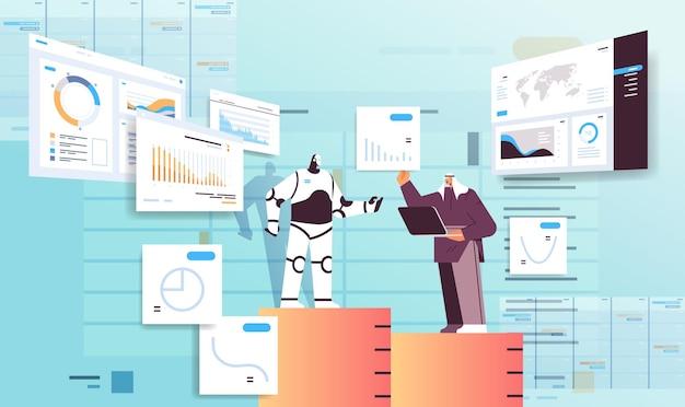 Robot moderne avec un homme d'affaires arabe analysant des statistiques et des graphiques de données financières analysant le concept de technologie d'intelligence artificielle illustration vectorielle horizontale pleine longueur