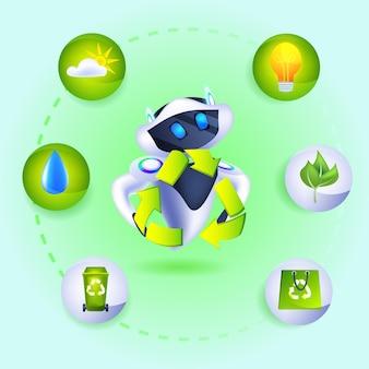 Robot moderne avec des icônes écologiques de recyclage des déchets l'intelligence artificielle sauve le concept de protection de l'environnement de la planète