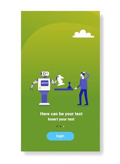 Robot moderne jouant aux échecs avec le concept de compétition technologie intelligence artificielle humaine