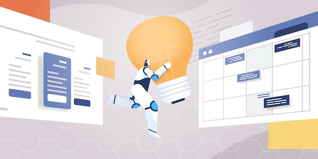 Robot moderne portant une grande lampe lumineuse