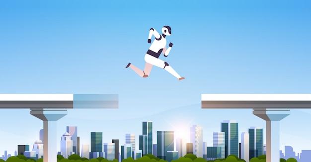 Robot moderne sautant par-dessus un abîme de pont brisé