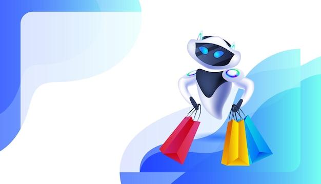 Robot moderne tenant des sacs à provisions offre spéciale shopping vente concept d'intelligence artificielle