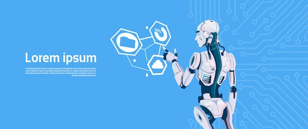 Robot moderne utilisant le moniteur d'écran tactile de digital, technologie futuriste de mécanisme d'intelligence artificielle