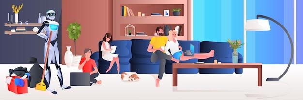 Robot nettoyeur professionnel concierge robotique avec équipement nettoyage salon famille détente à la maison concept de technologie d'intelligence artificielle horizontale pleine longueur
