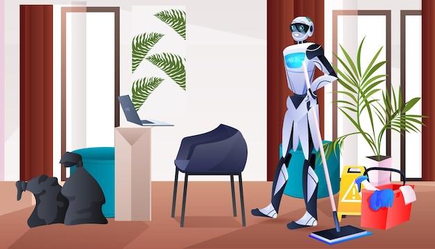 Robot nettoyeur professionnel concierge robotique avec service de nettoyage d'équipement concept de technologie d'intelligence artificielle salon intérieur horizontal pleine longueur