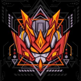 Robot ninja rouge géométrie sacrée