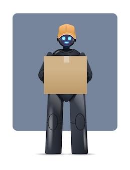 Robot noir courrier robotique livraison tenant une boîte en carton service de livraison intelligence artificielle