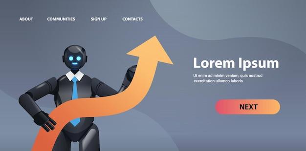 Robot noir tenant la flèche vers le haut la réussite de la croissance de l'entreprise l'intelligence artificielle