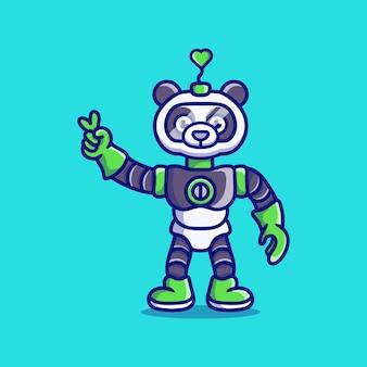 Robot panda mignon avec signe de main amour paix