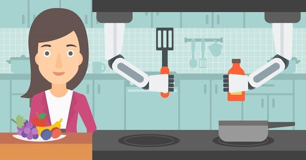Robot personnel domestique aide à propriétaire à la cuisine.