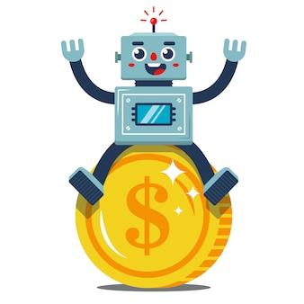 Le robot rados est assis sur une grosse pièce d'or. revenu passif. joyeux travailleur. illustration vectorielle plane