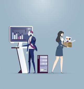 Robot remplace dans le travail des femmes d'affaires