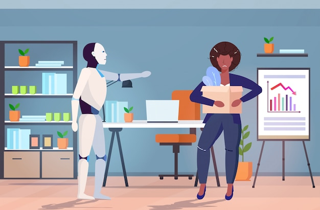 Robot a renvoyé l'homme loin du travail caractère robotique moderne remplaçant la femme d'affaires