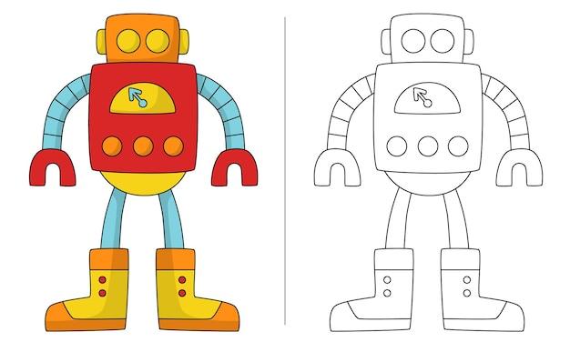 Robot rétro illustration livre coloriage pour enfants